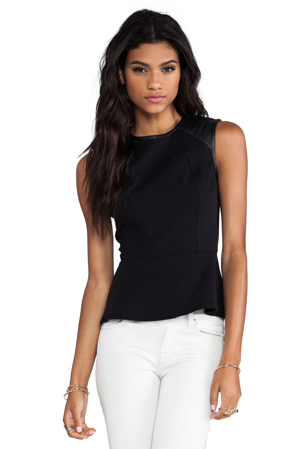 Cut25 by Yigal Azrouel Quilted Leather Shoulder Peplum Top in Jet