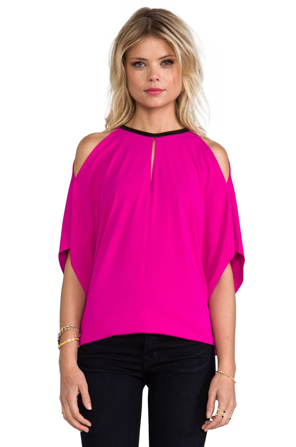 Cut25 by Yigal Azrouel Draped Matte Top in Fuschia