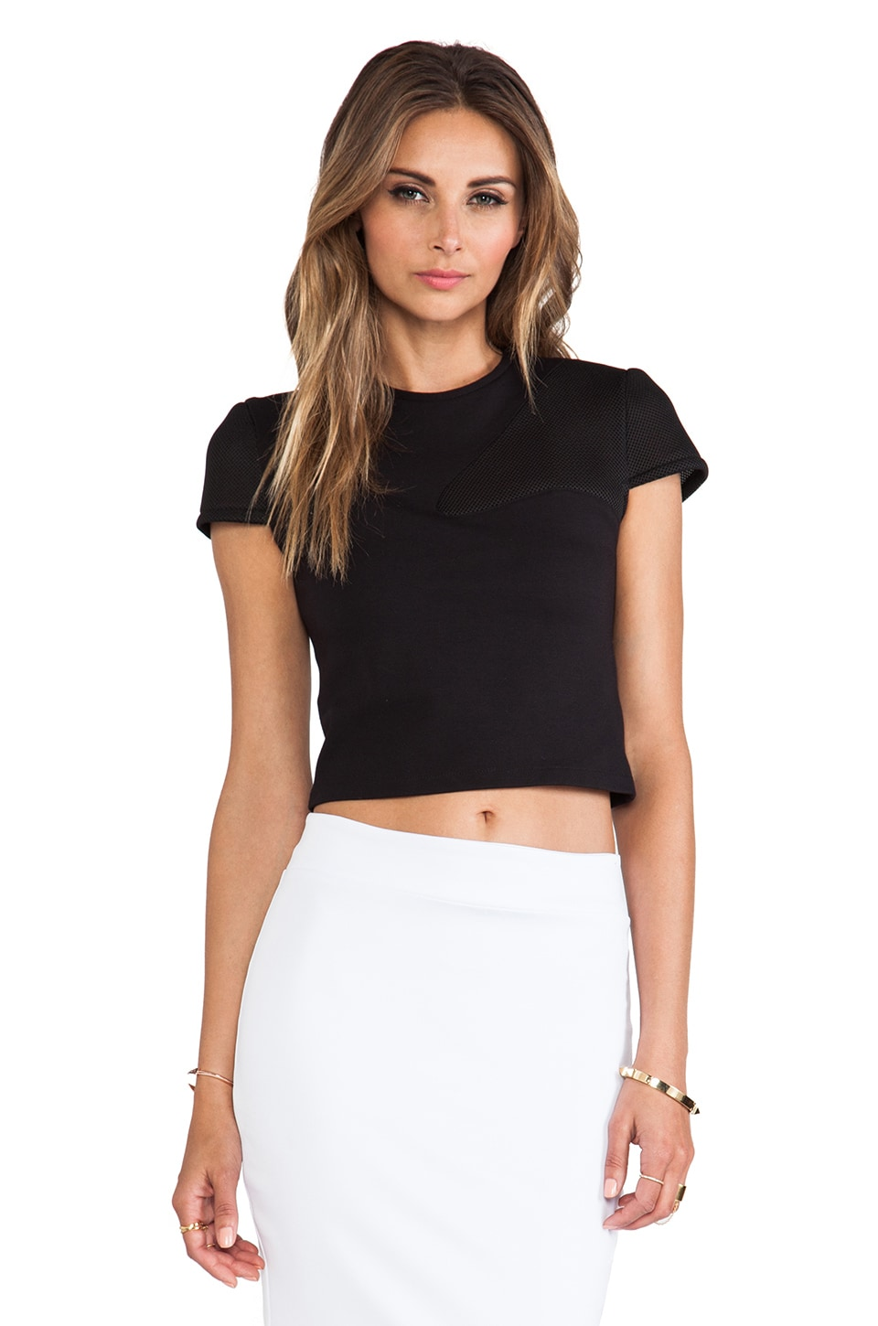 Cut25 by Yigal Azrouel Ponte Cropped Top in Black