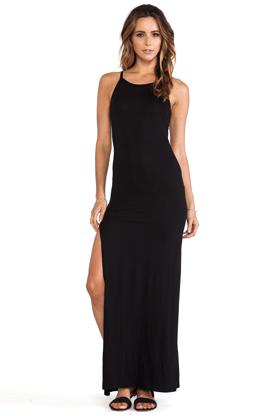 Daftbird High Neck Maxi Dress in Black