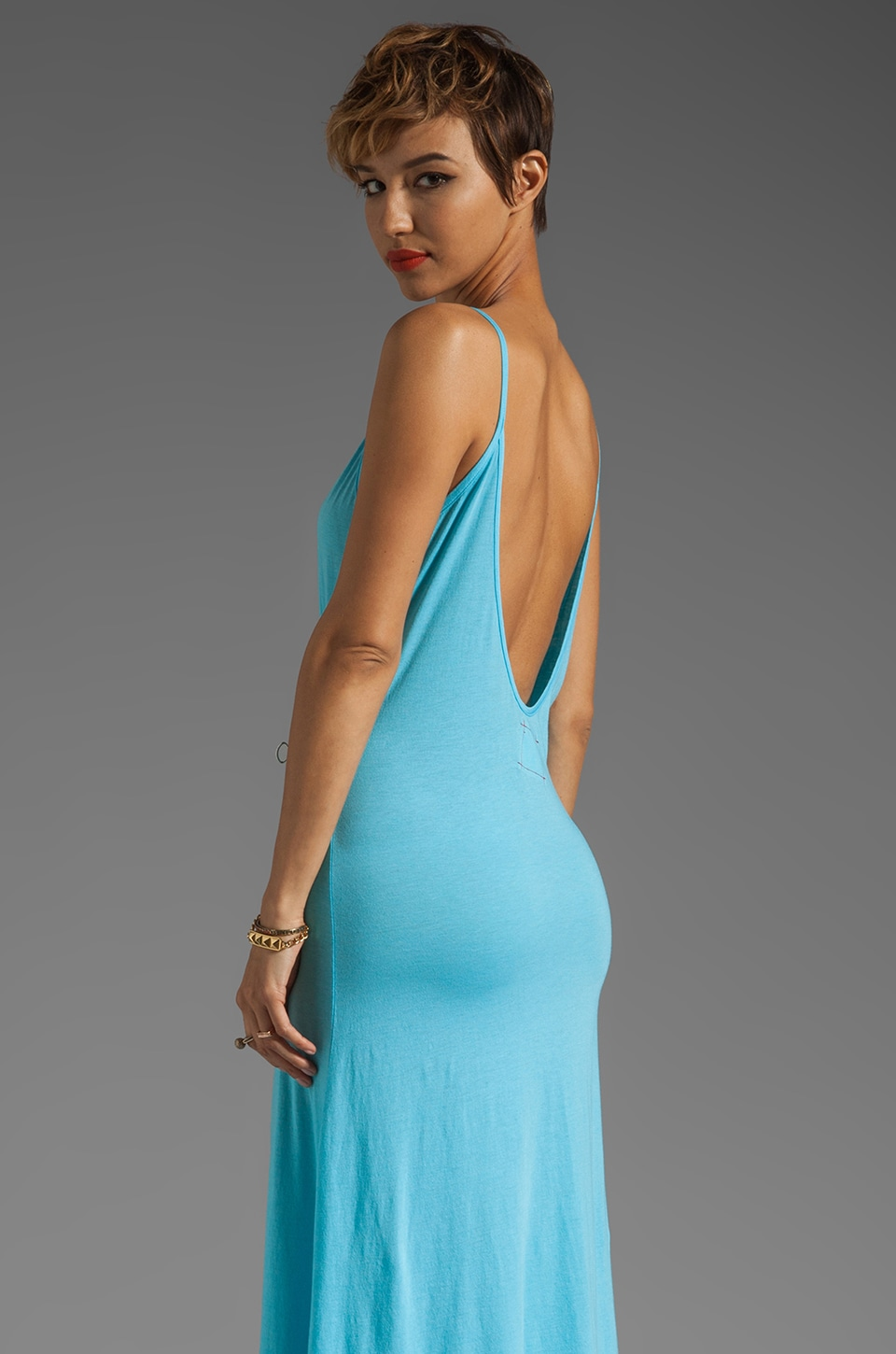 Daftbird Low Back Tank Dress in Sea Breeze