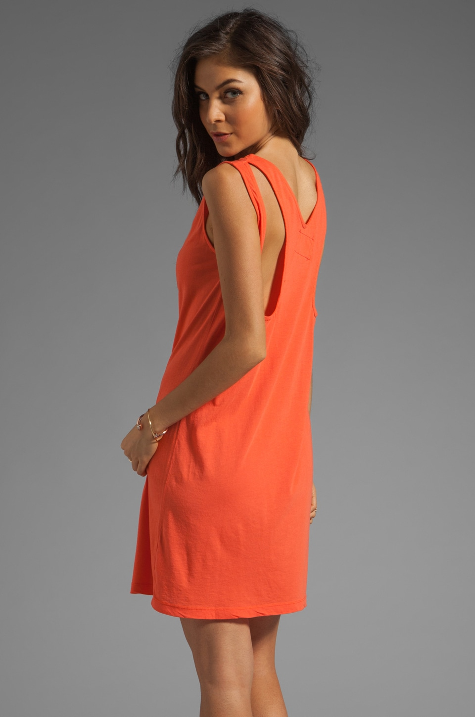 Daftbird Cut-Out Tank Dress in Lava