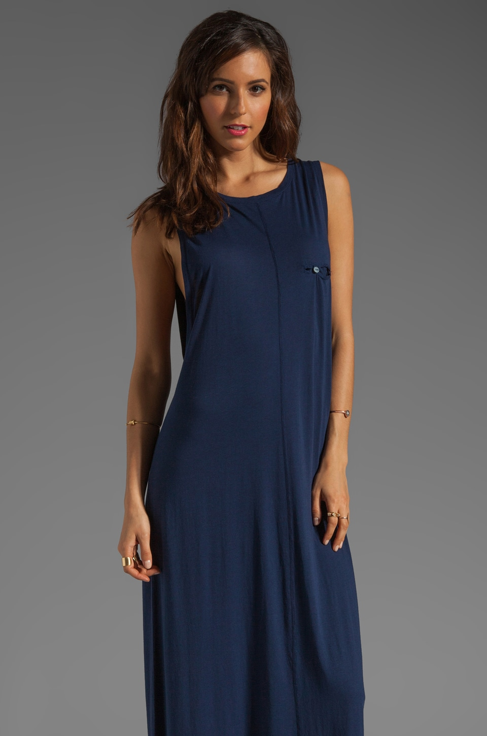 Daftbird Open Sides Back Tied Dress in Navy