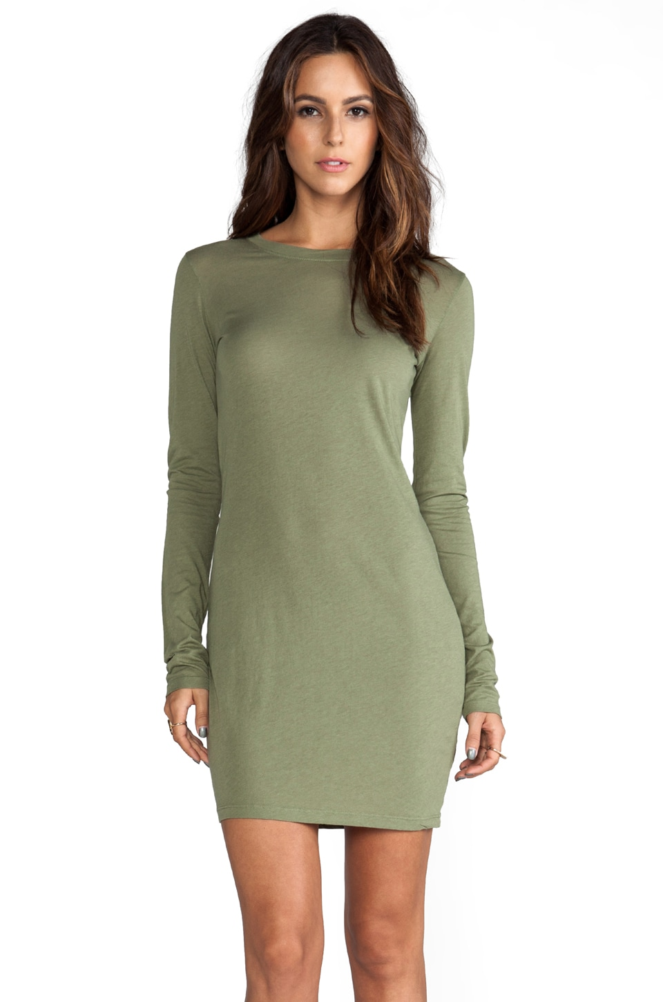 Daftbird Long Sleeve Mini Dress in Sage