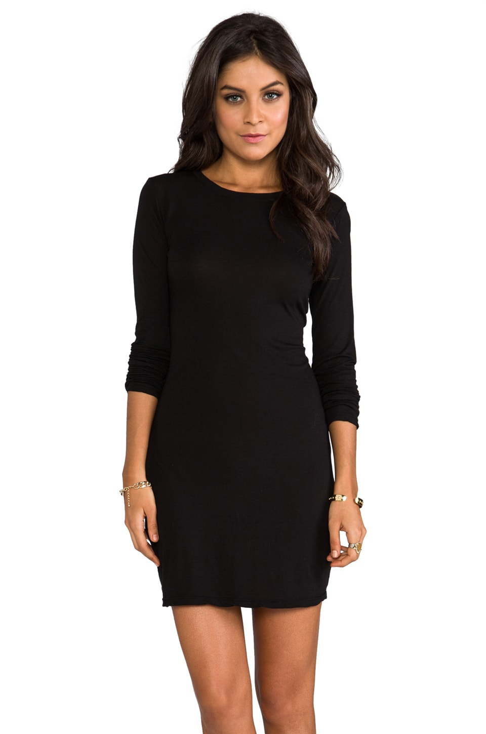 Daftbird Long Sleeve Mini Dress in Black