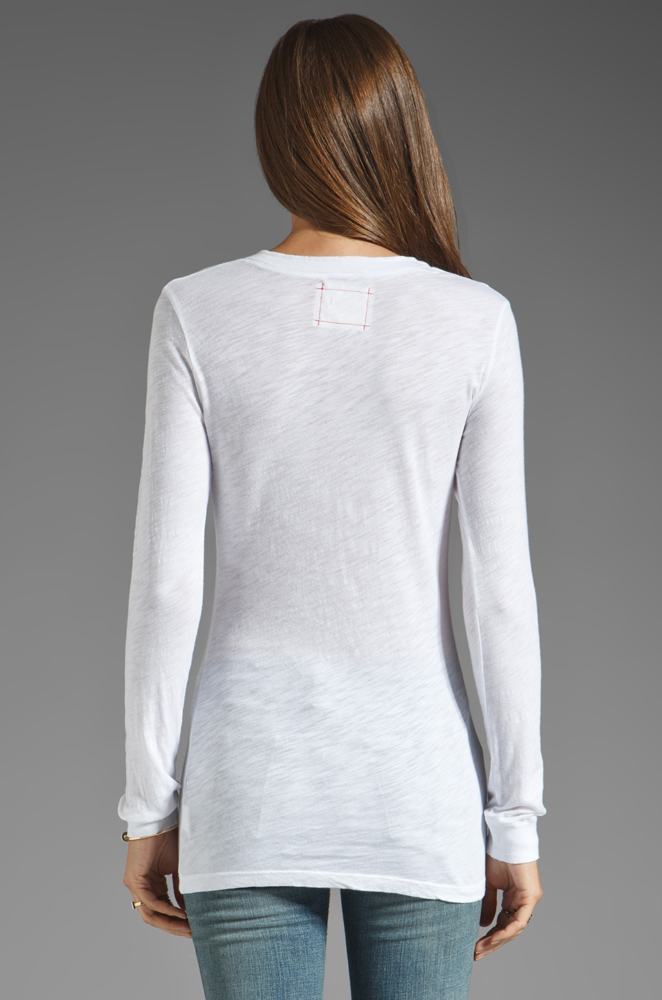 Daftbird Detailed Henley Long Sleeve Tee in White