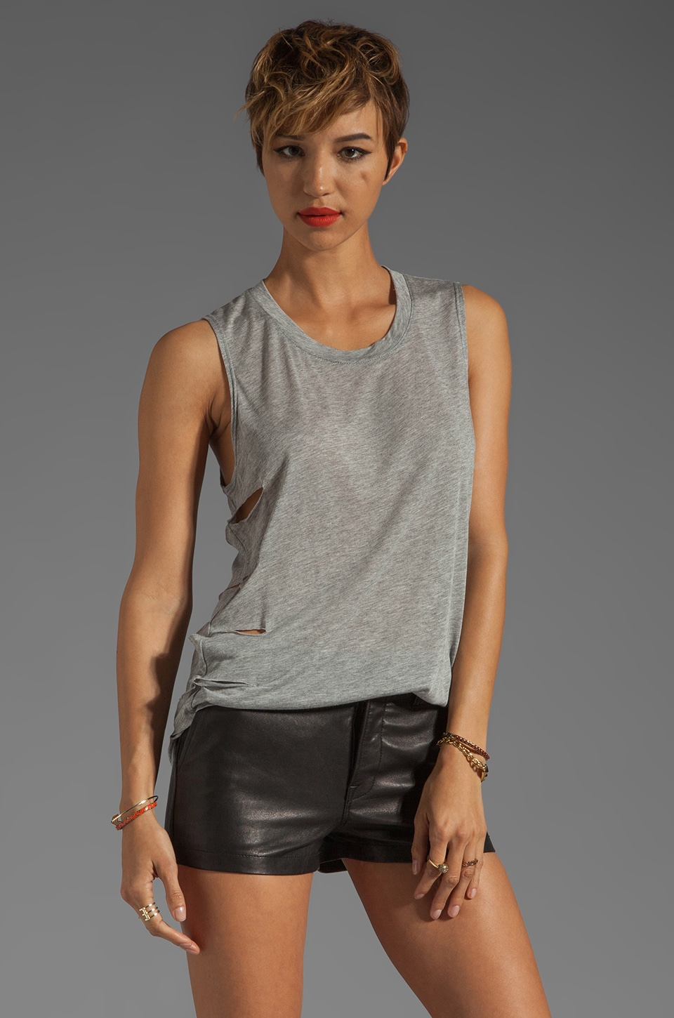 Daftbird Sleeveless Cut-Out Sides Tee in Heather Grey