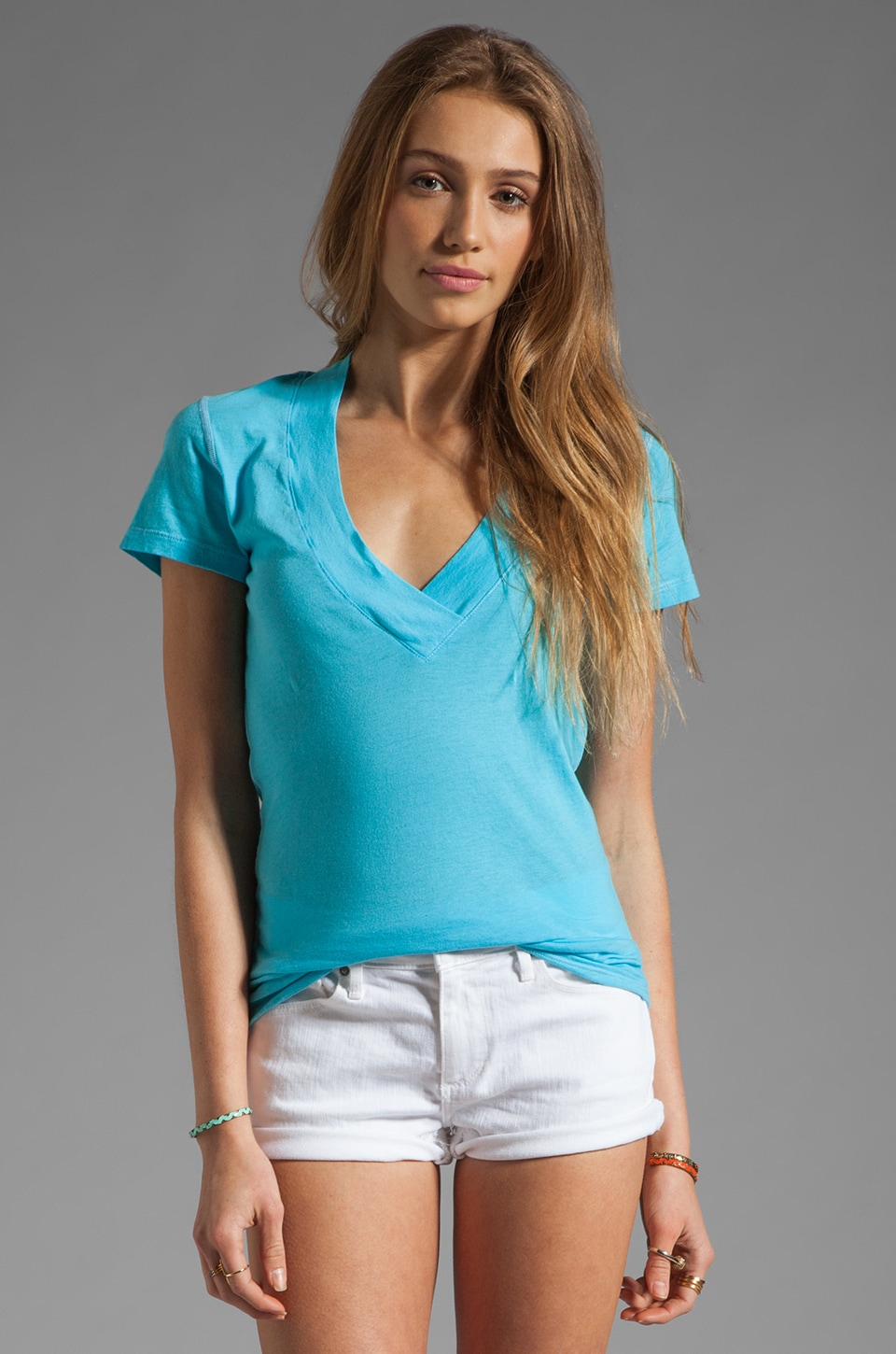 Daftbird Contrast Deep V Tee in Sea Breeze