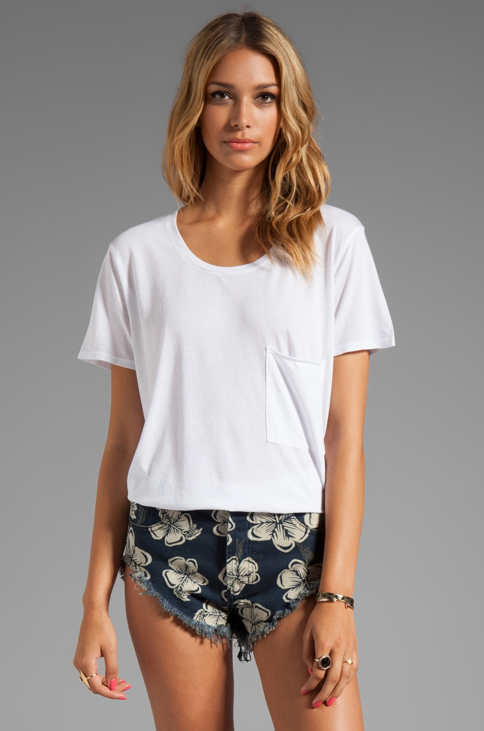 Daftbird Oversized Scoop Neck Pocket Tee in White