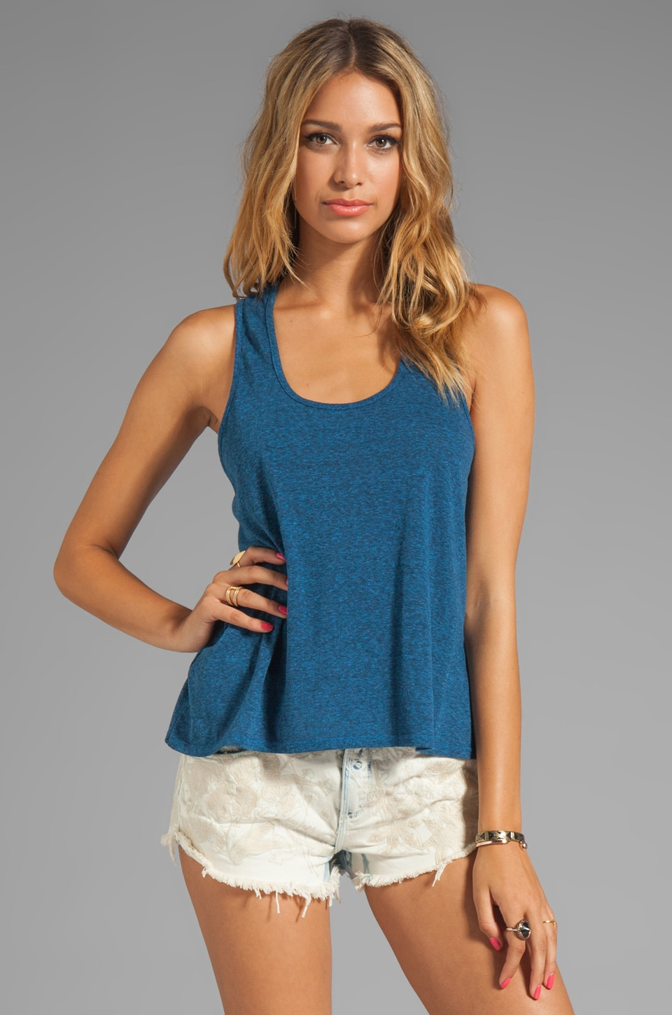 Daftbird Heather Loose Tank in Bluebird