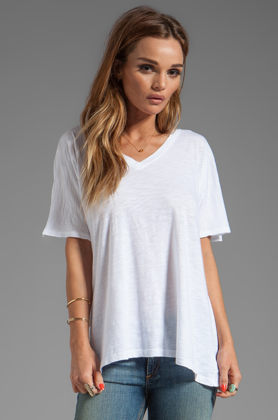 Daftbird Loose Fit Block V Tee in White