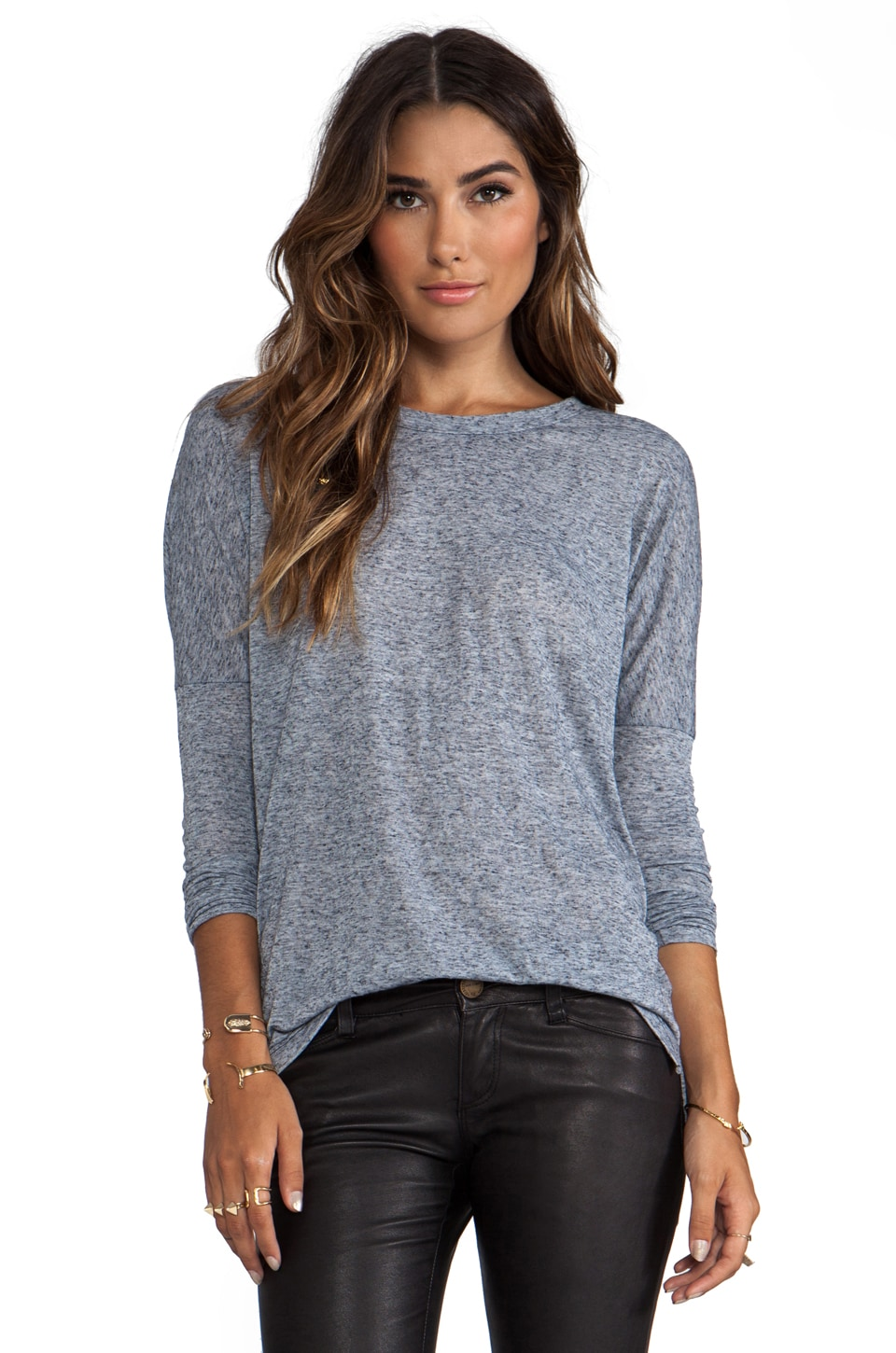 Daftbird Scoop Neck Fitted Long Sleeve Tee in Yankee