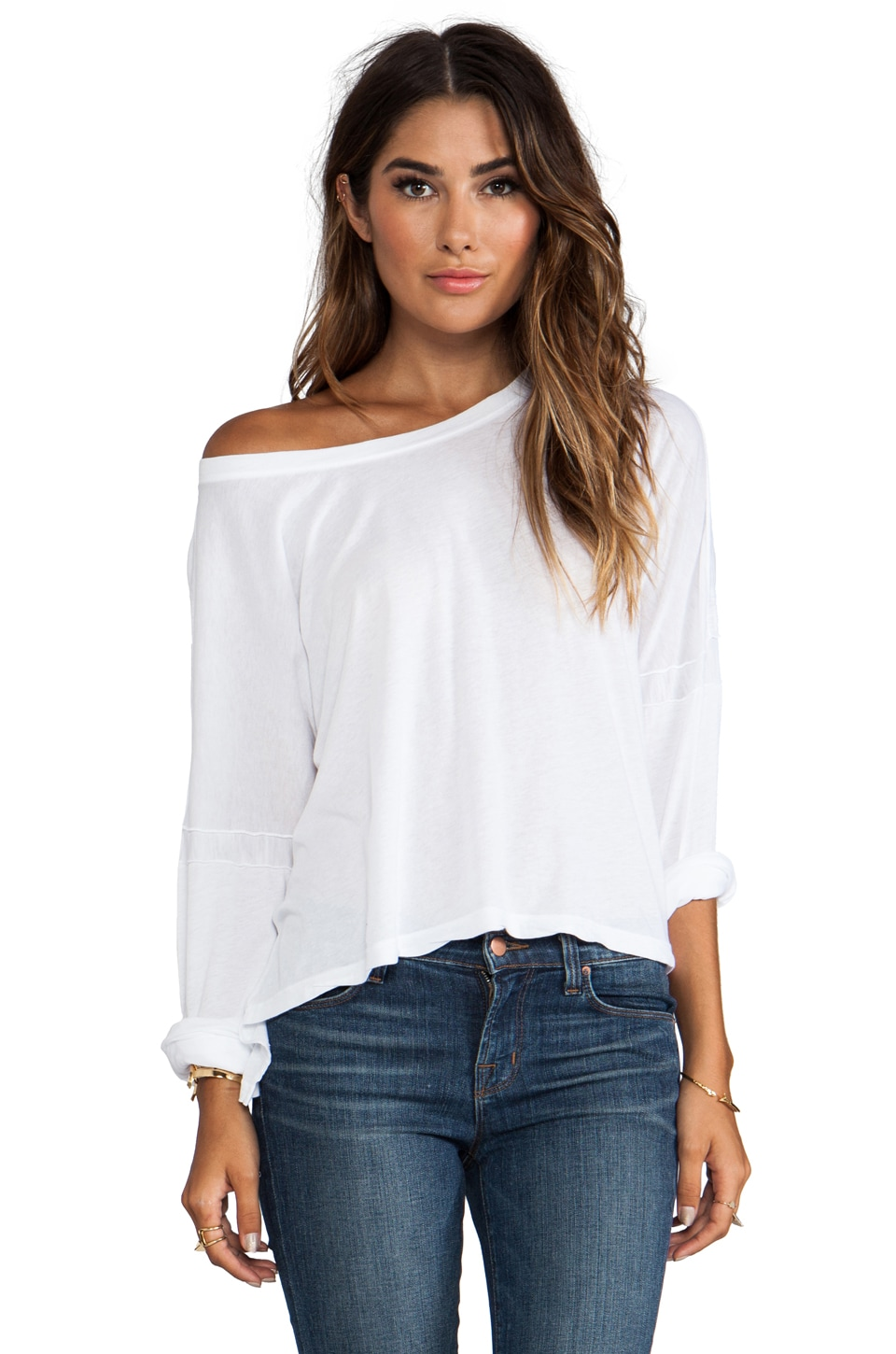 Daftbird 3/4 Sleeve Loose Tee in White