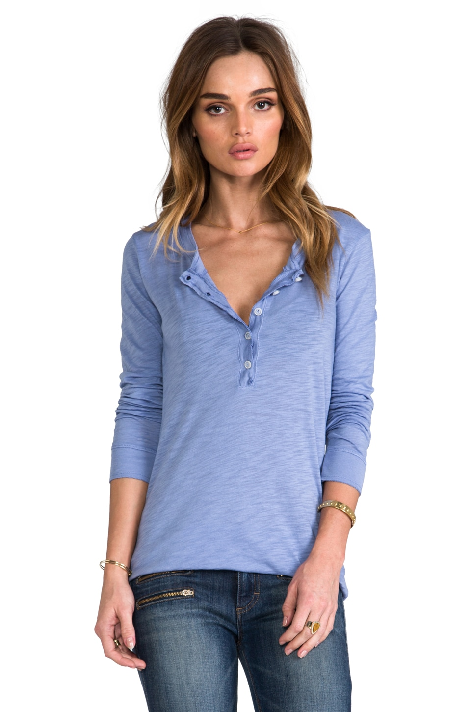 Daftbird Detailed Henley Long Sleeve Tee in Periwinkle