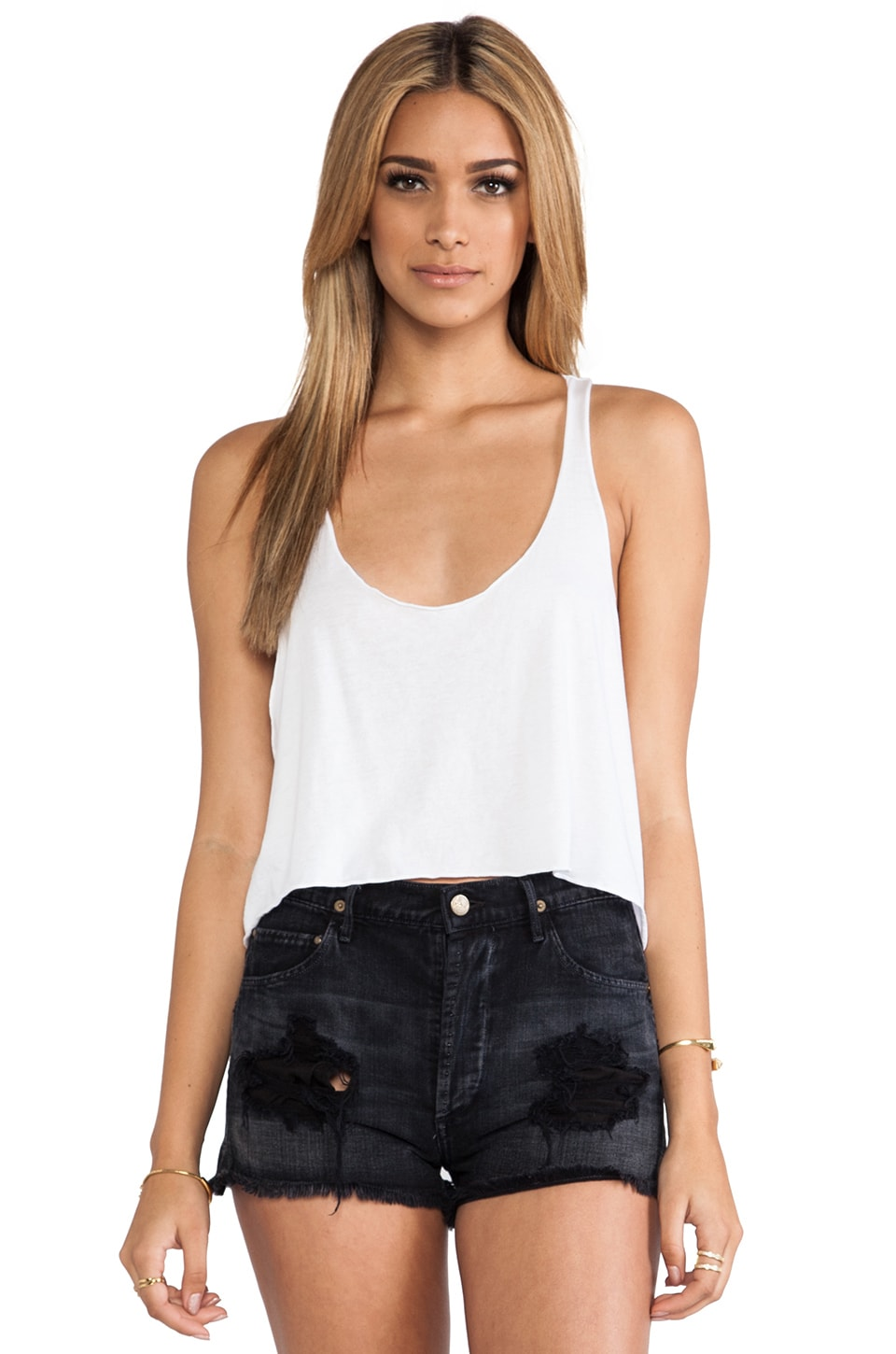 Daftbird Loose Cropped Tank in White