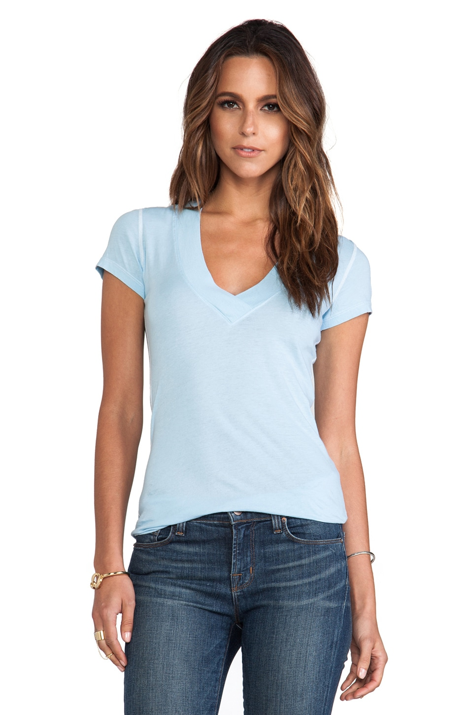 Daftbird Deep V Tee in Day Blue