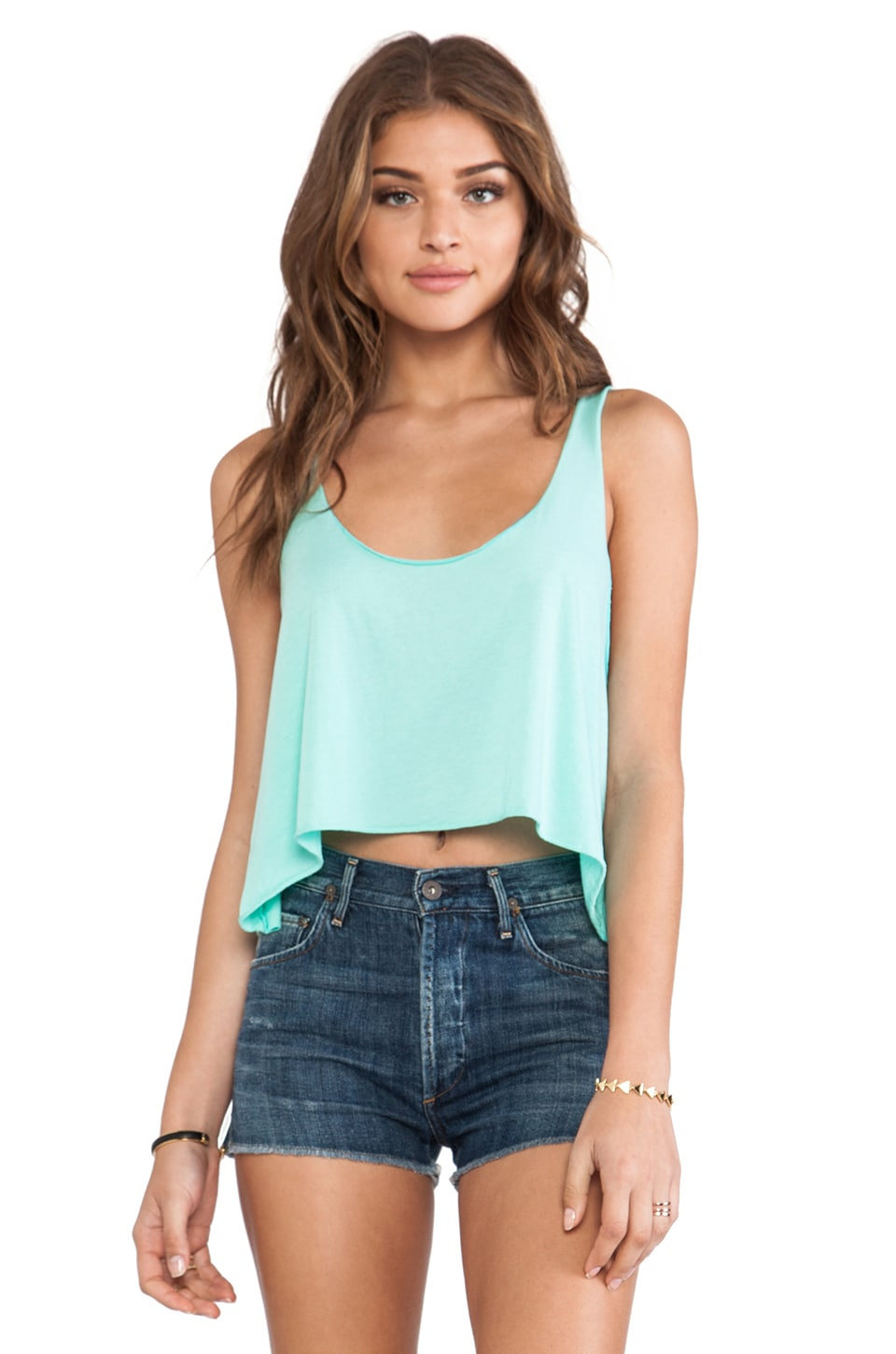 Daftbird Loose Cropped Tank in Wintergreen
