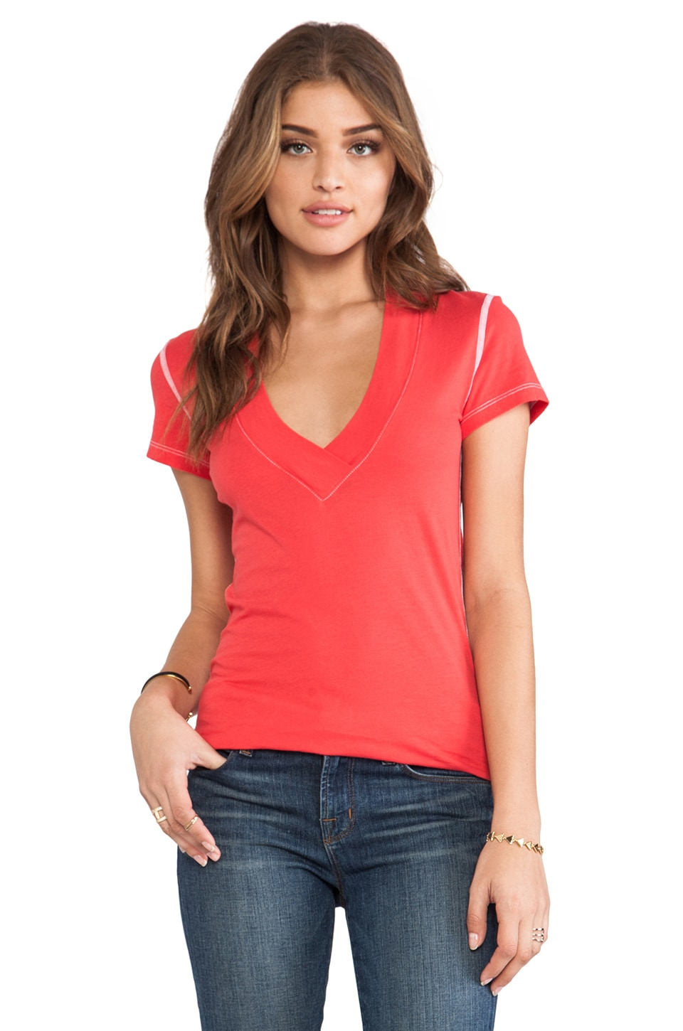 Daftbird Deep V Tee in Firecracker