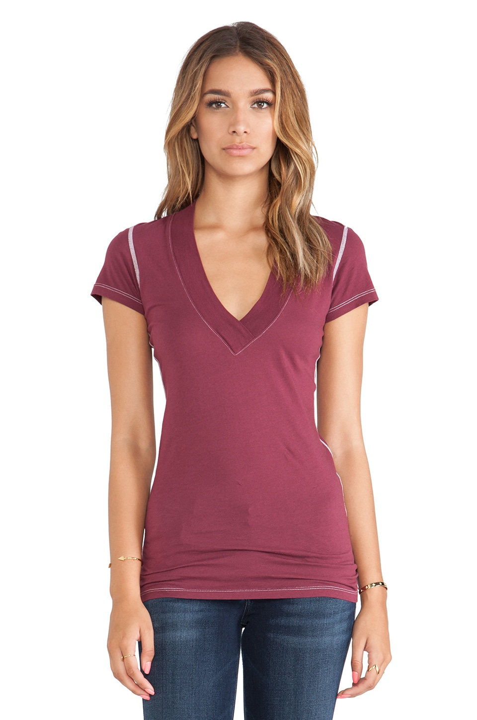 Daftbird Deep V Tee in Port Wine