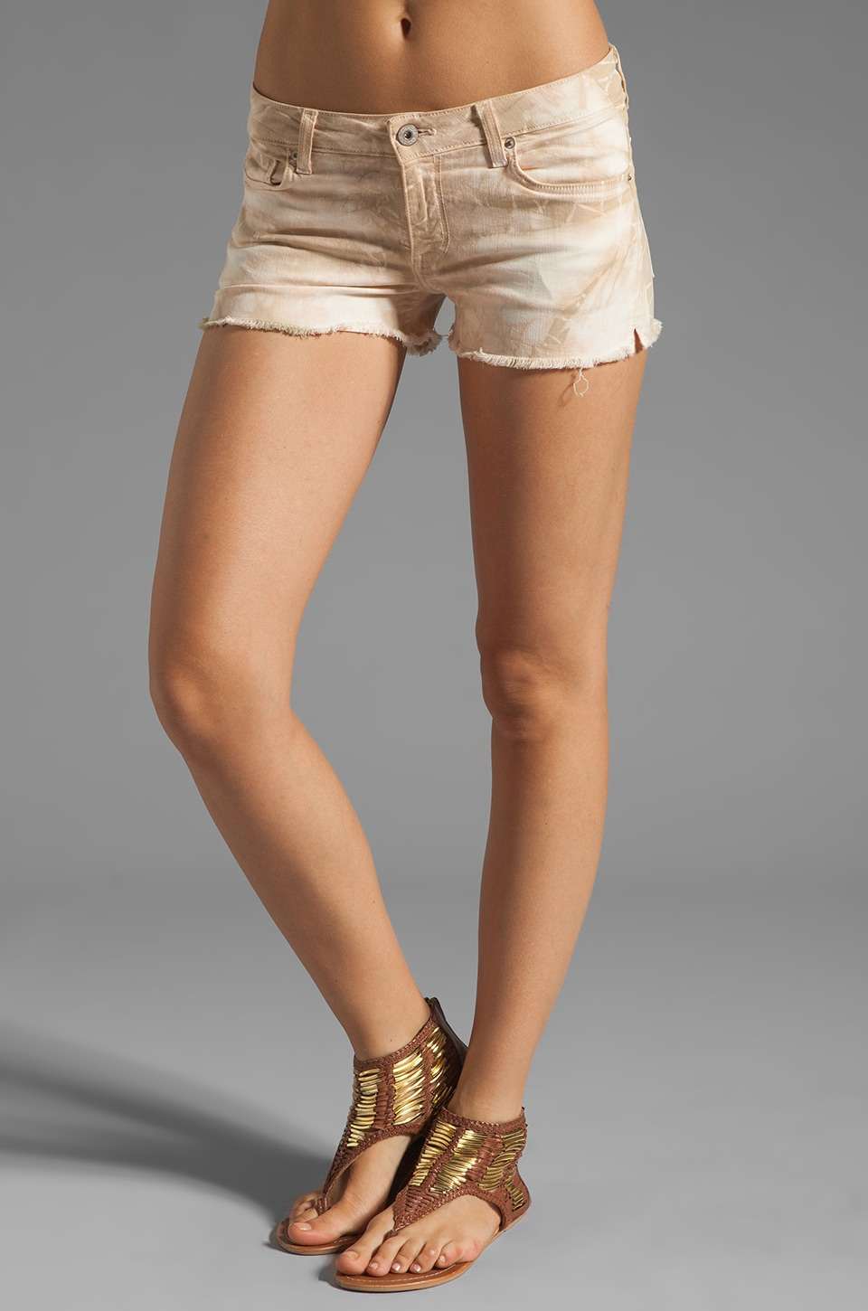 Dakota Collective Lela Raw Edge Short in Tribal Tie-Dye Cream/Taupe