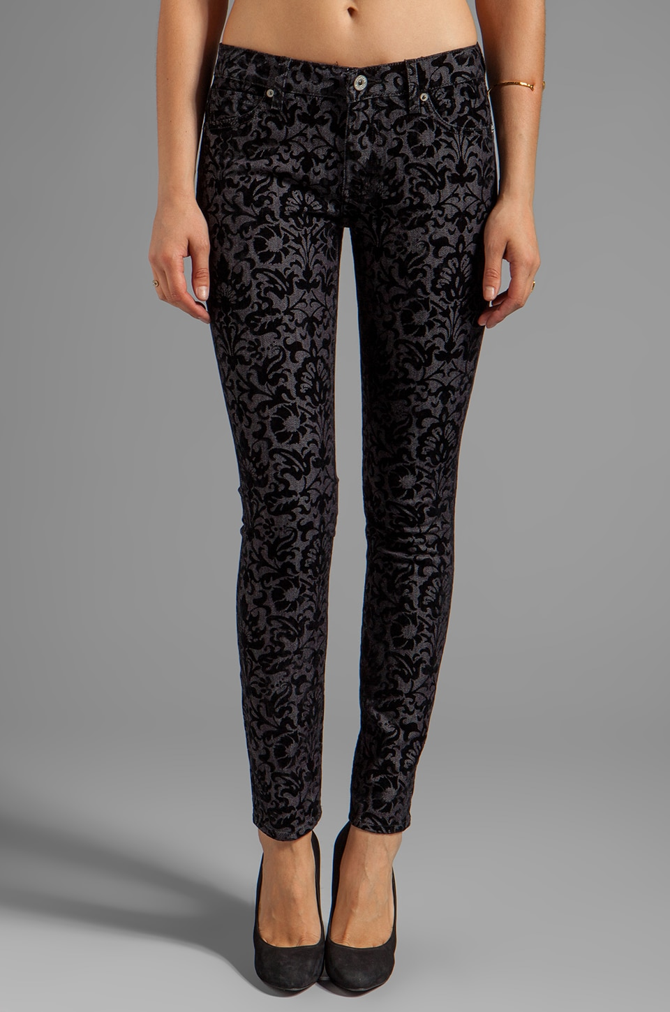 Dakota Collective Khloe Skinny in Black Brocade