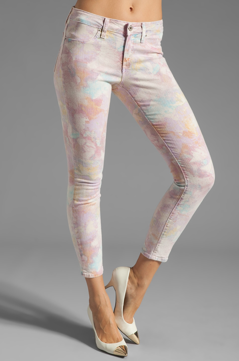 Dakota Collective Bridget Skinny Crop in Watercolor Floral