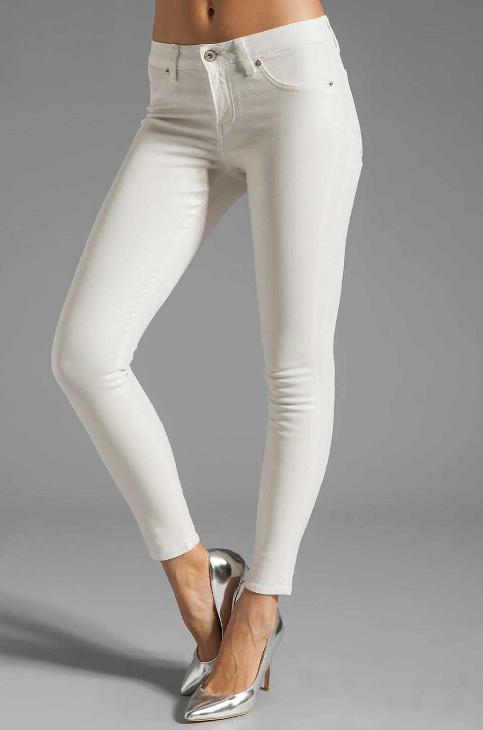 Dakota Collective Khloe Skinny in Iridescent Coated White
