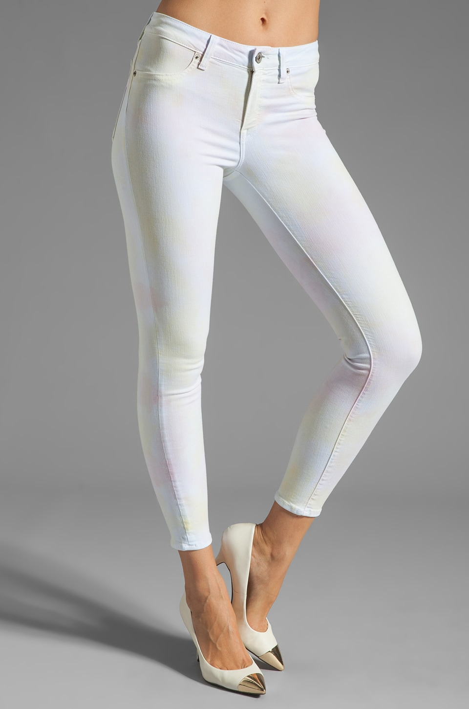 Dakota Collective Bridget Skinny Crop in Neon Cloud