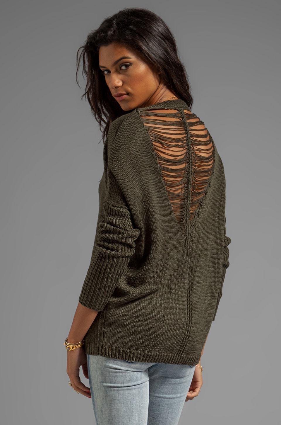 Dakota Collective Adara Drape Yarn Back Sweater in Olive