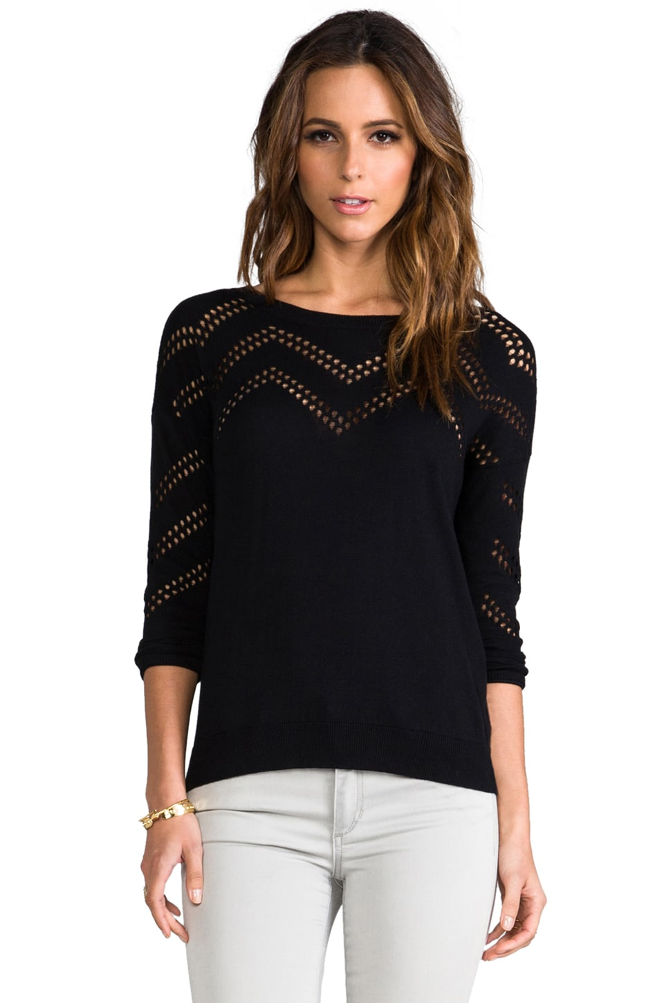 Dakota Collective Graham Drop Needle Zig Zag Sweater in Blck