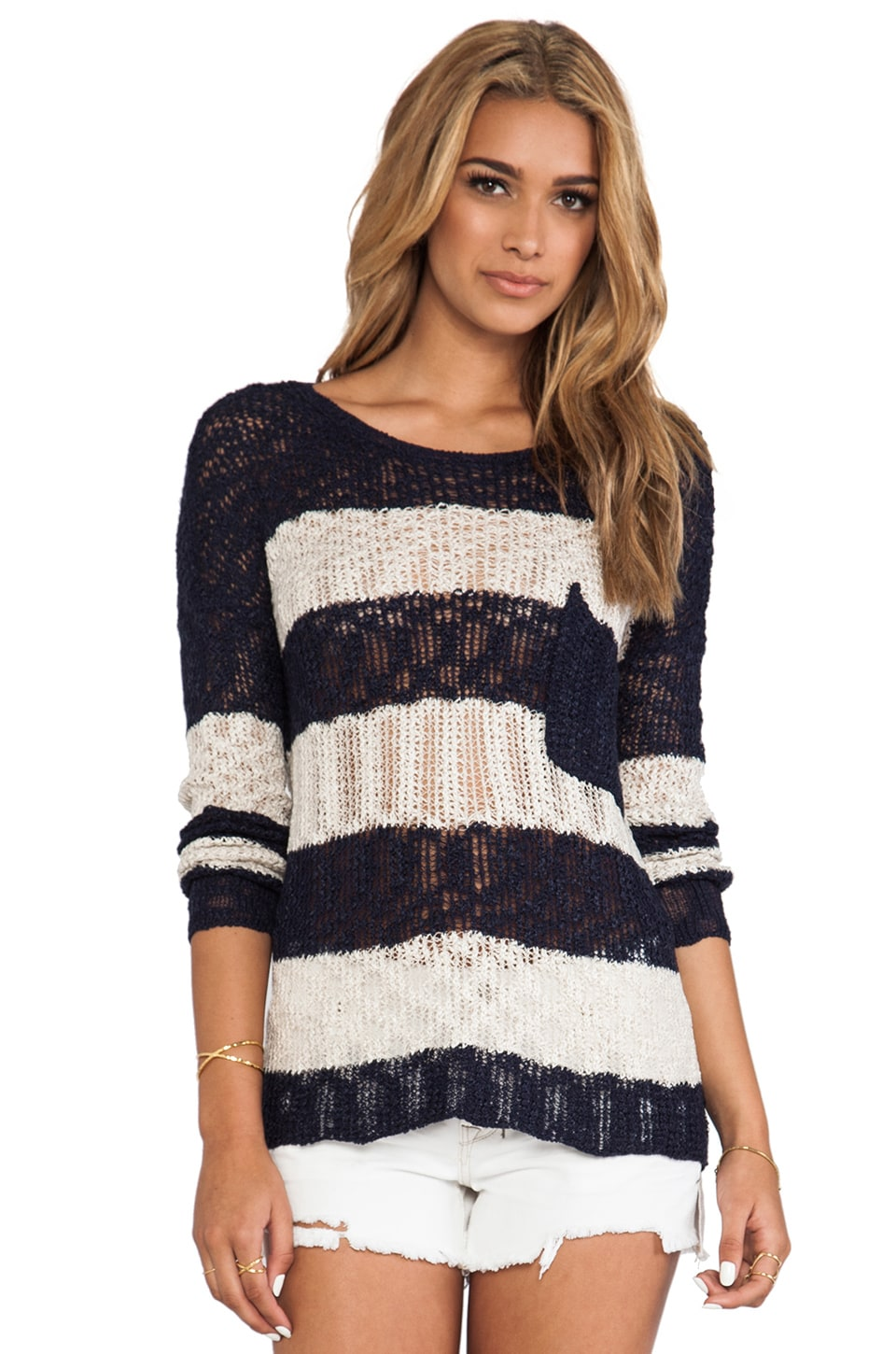 Dakota Collective Sindella Striped Pullover in Navy & Oatmeal