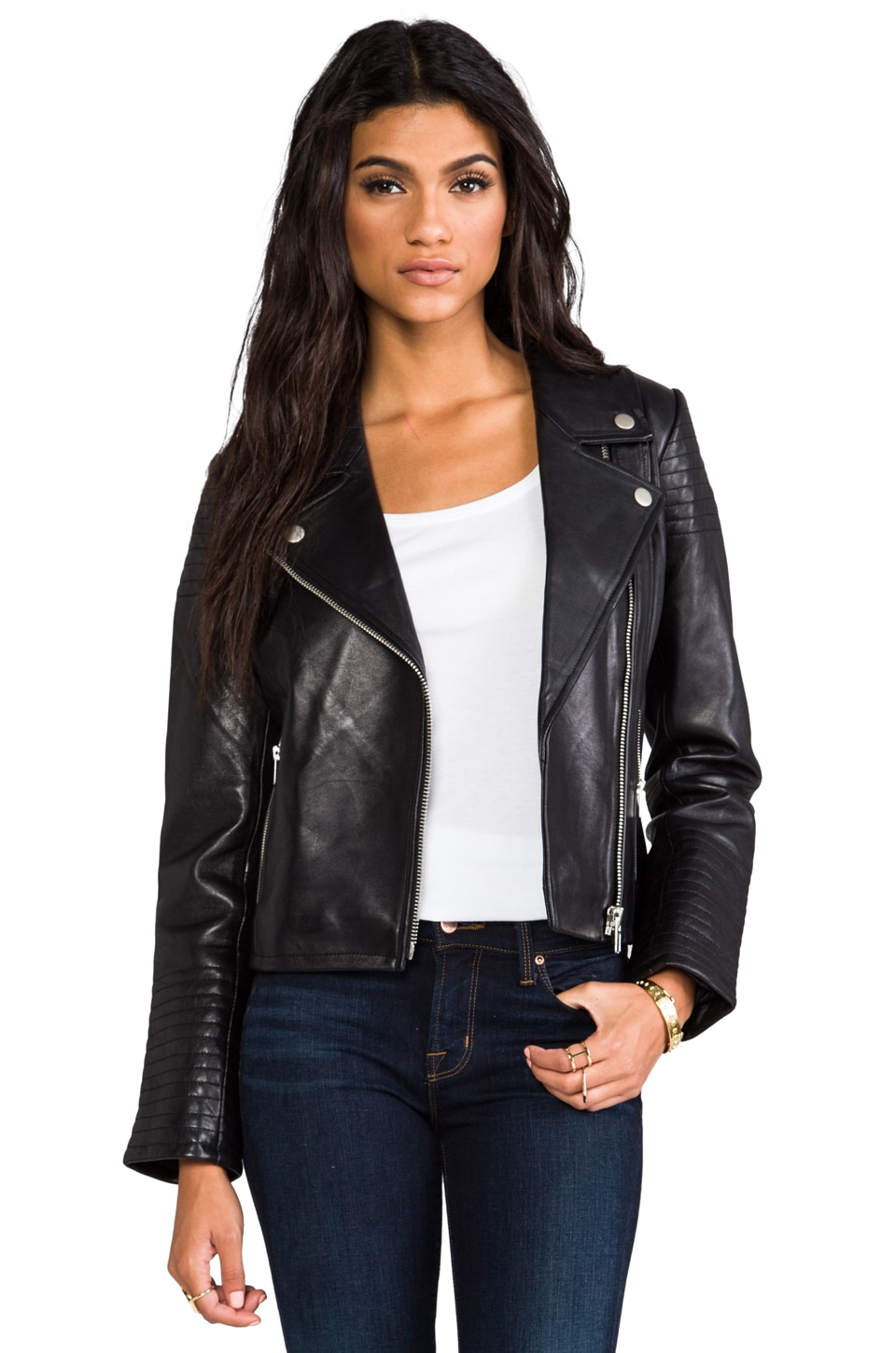 Dakota Collective Daniel Leather Moto with Quilted Sleeves in Black