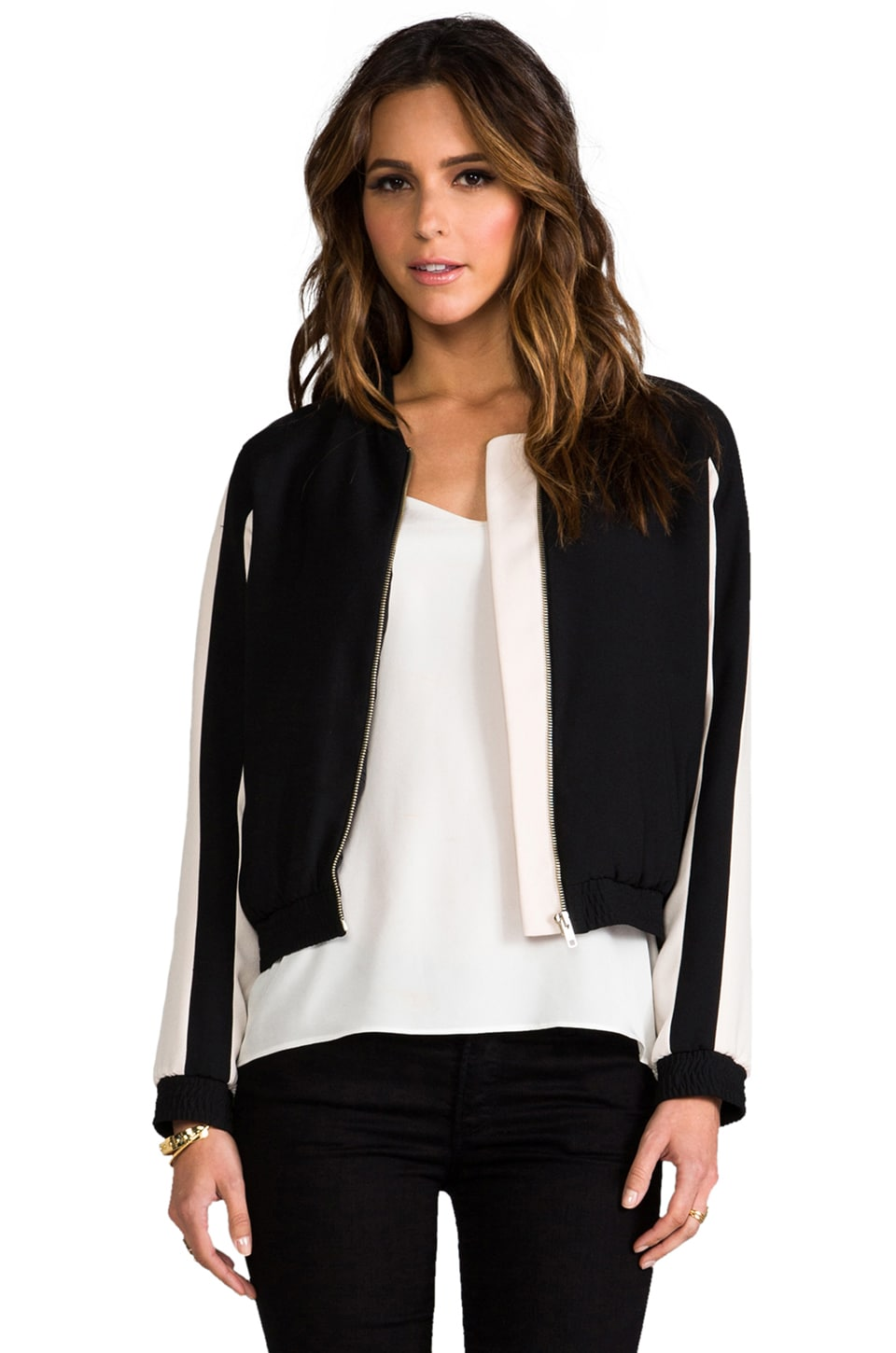 Dakota Collective Maxime Bomber Jacket in Nude/Black