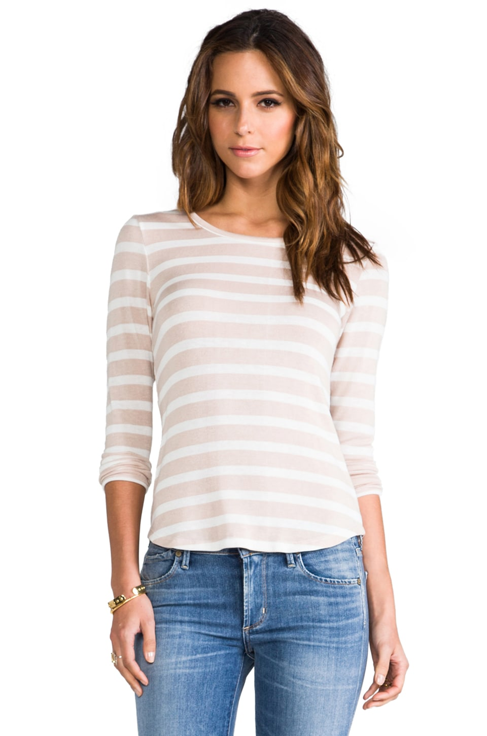 Dakota Collective Sadi Stripe Shirt Tail Long Sleeve Tee in Ecru & Natural