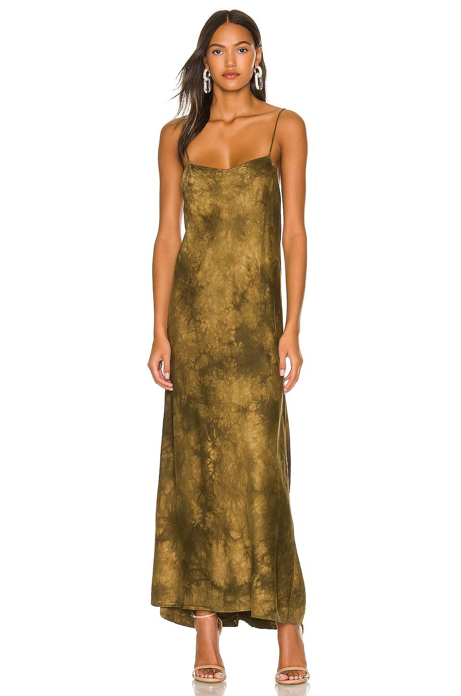 DANNIJO Silk Tie Waisted Dress in Moss Tie Dye