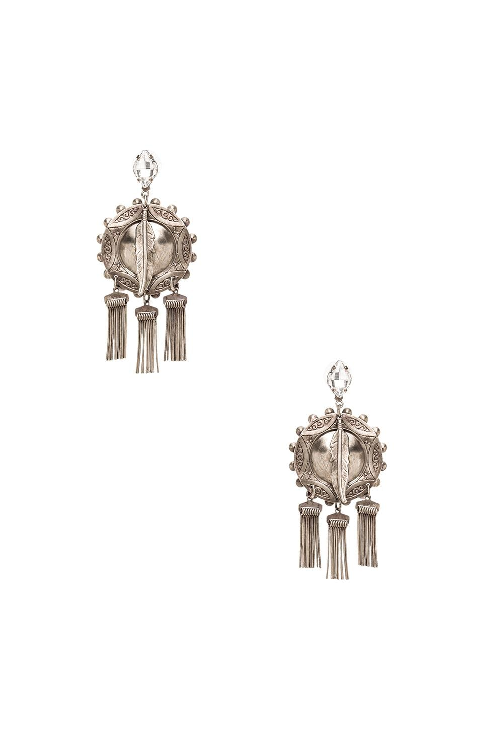 DANNIJO Shelton Earrings in Ox Silver & Clear