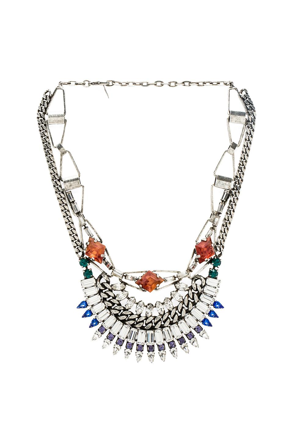 DANNIJO Yasmina Necklace in Silver & Crystal & Italian Amber