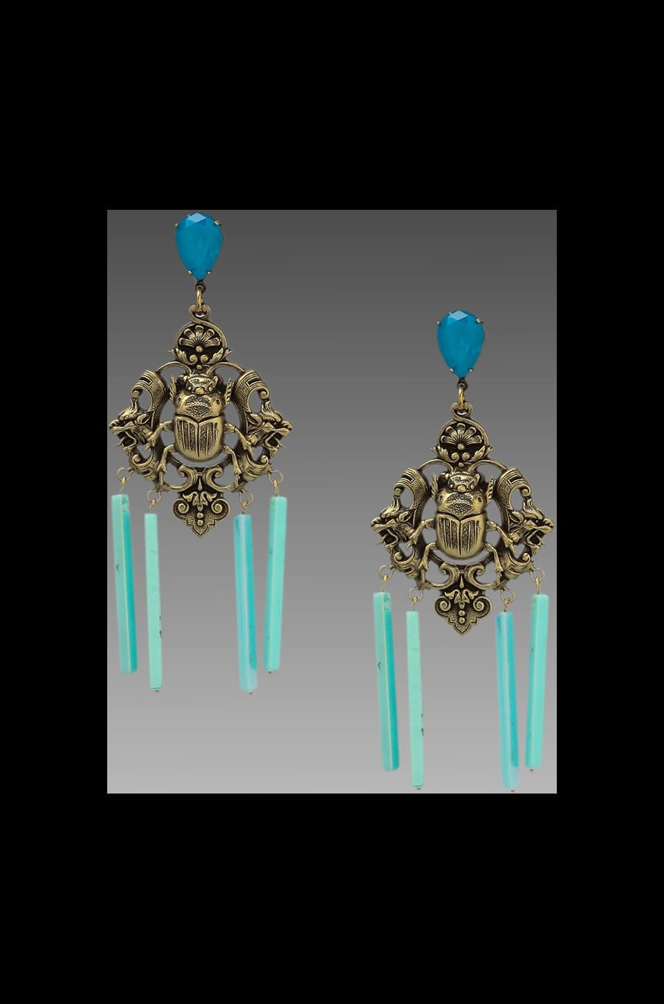 DANNIJO Raina Earrings in Ox Brass/Turquoise