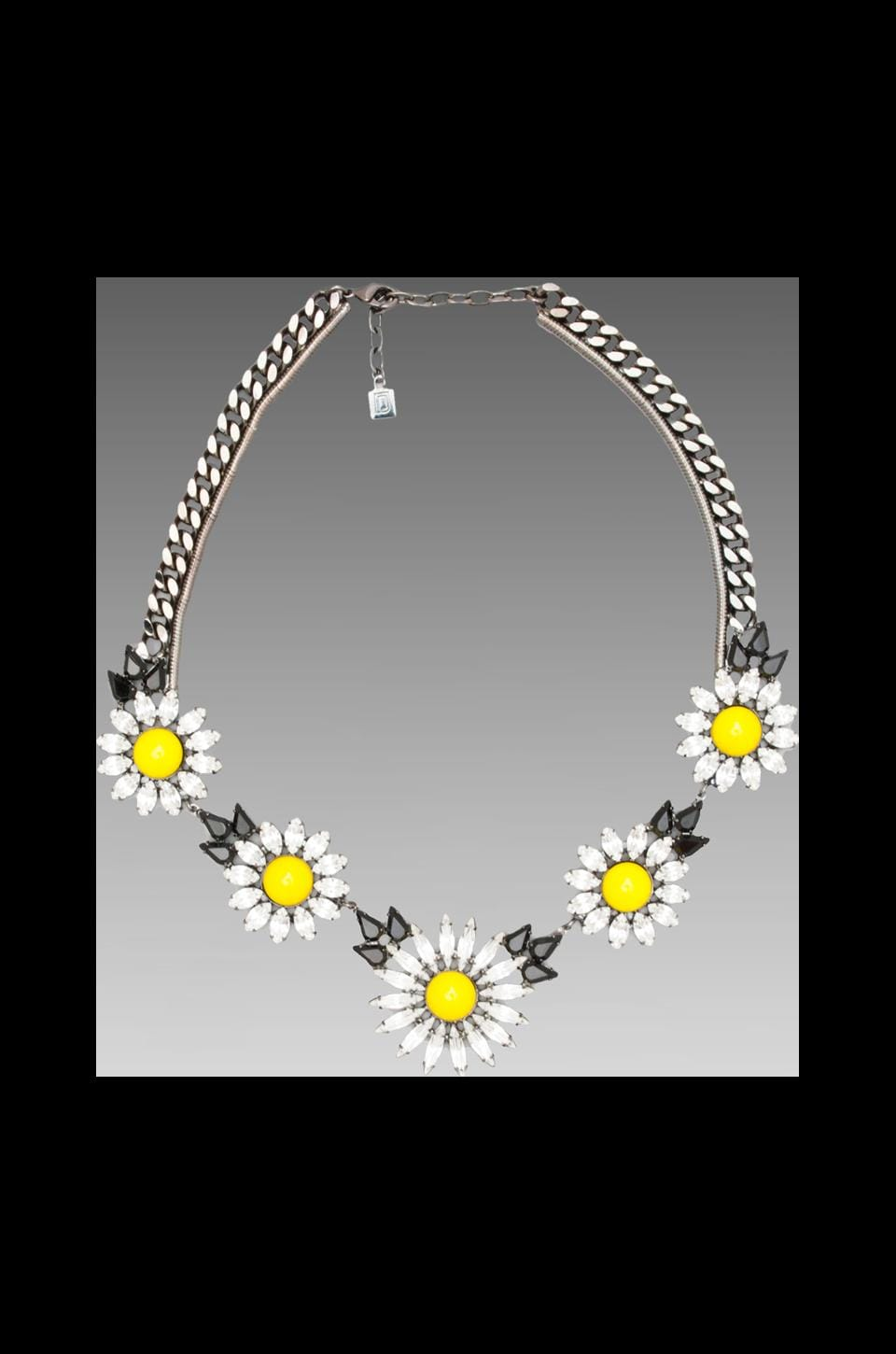 DANNIJO Dahlia Necklace in Gunmetal/Yellow/Clear