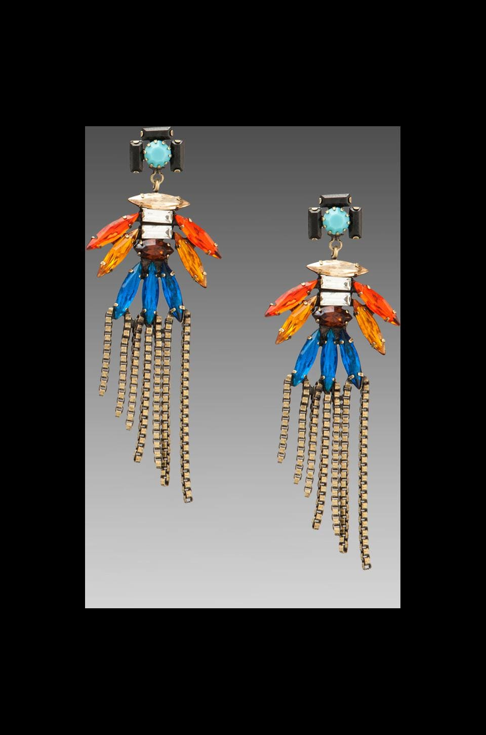 DANNIJO Zazu Earrings in Ox Brass/Multi