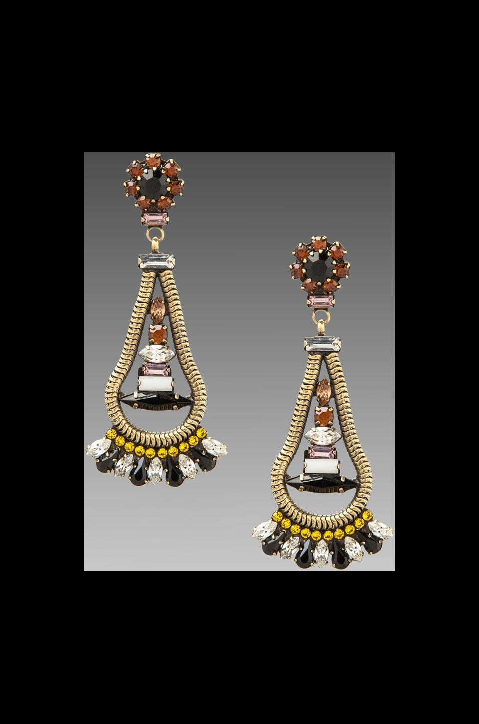 DANNIJO Leah Earrings in Brass/Topaz