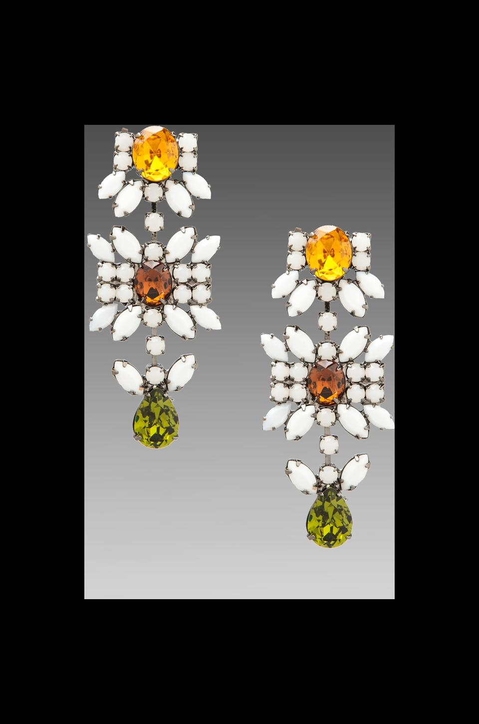 DANNIJO Lynnie Earrings in White/Green/Orange