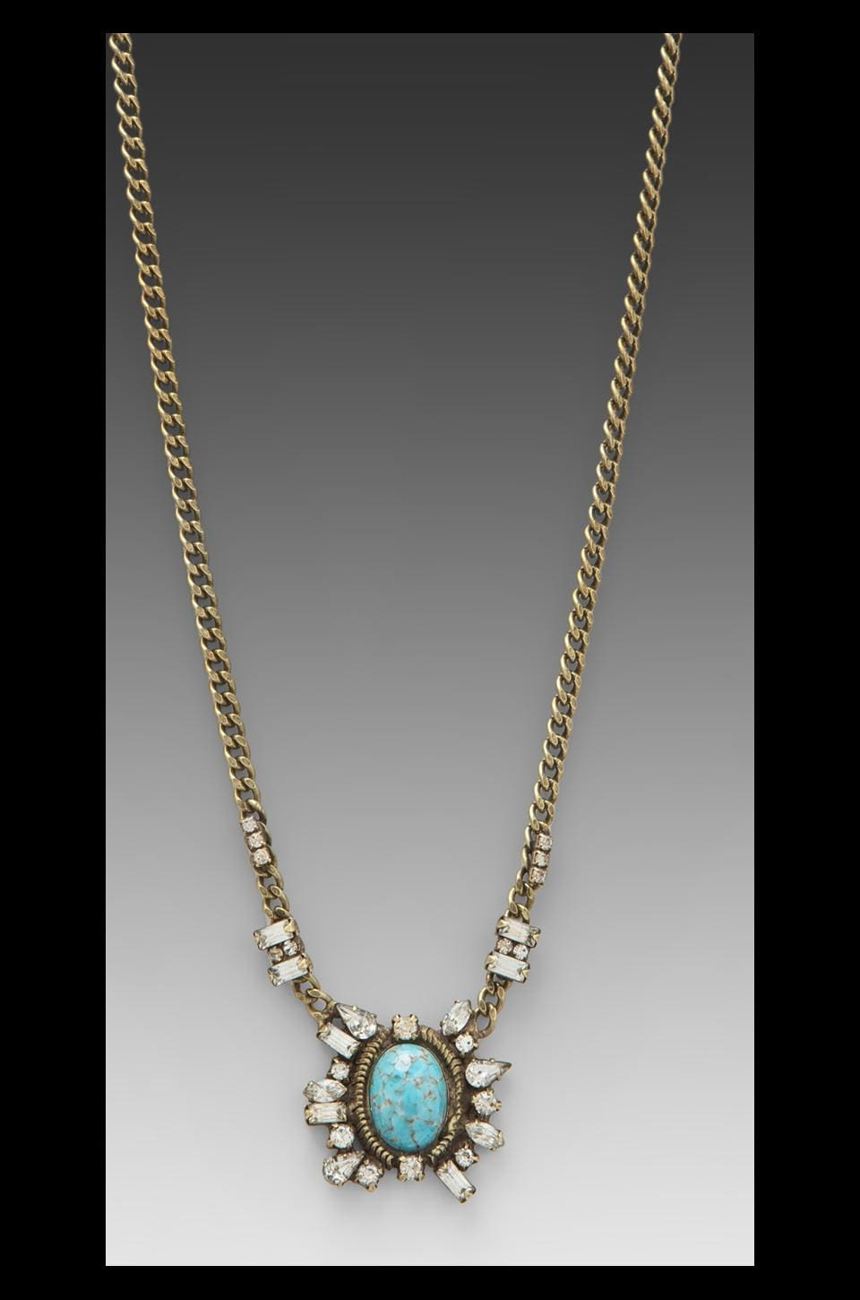 DANNIJO Dalton Necklace in Ox Brass/Turquoise