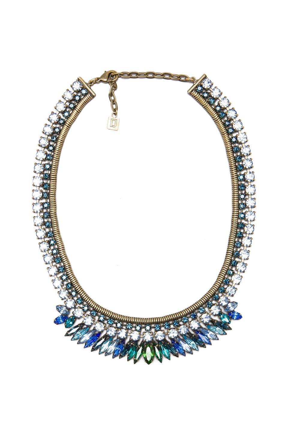 DANNIJO Nathalia Necklace in Ox Brass/Blue