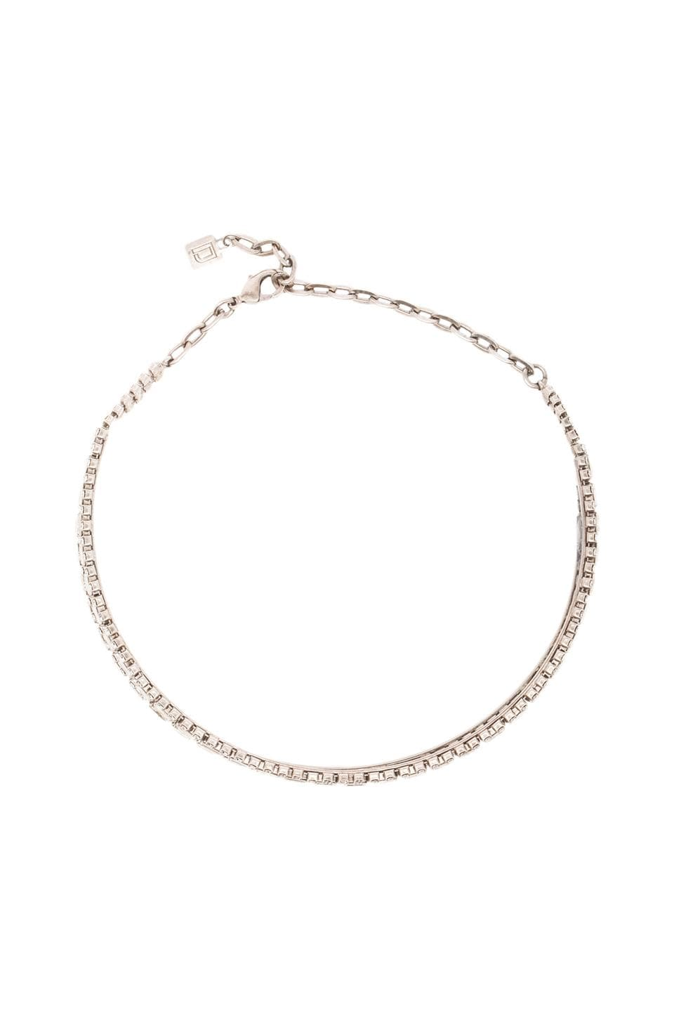 DANNIJO Thea Rhinestone Choker Necklace in Ox Silver/Clear