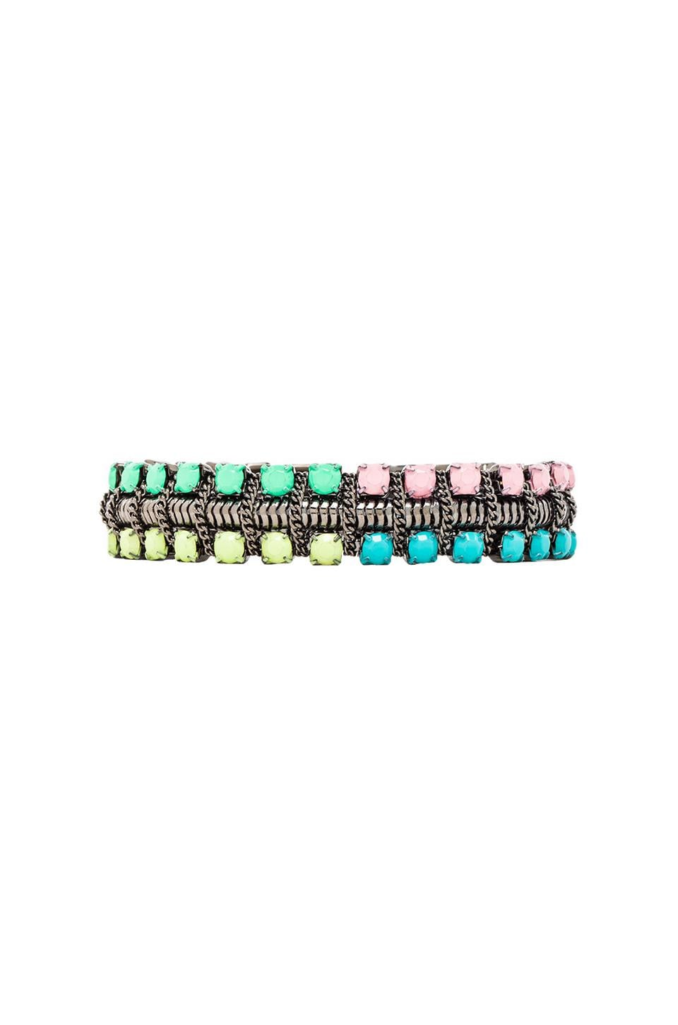 DANNIJO Giulia Bracelet in Gunmetal & Light Yellow & Pink & Blue & Green
