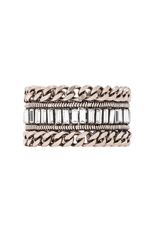 DANNIJO Jordan Bracelet in Ox Silver & Clear
