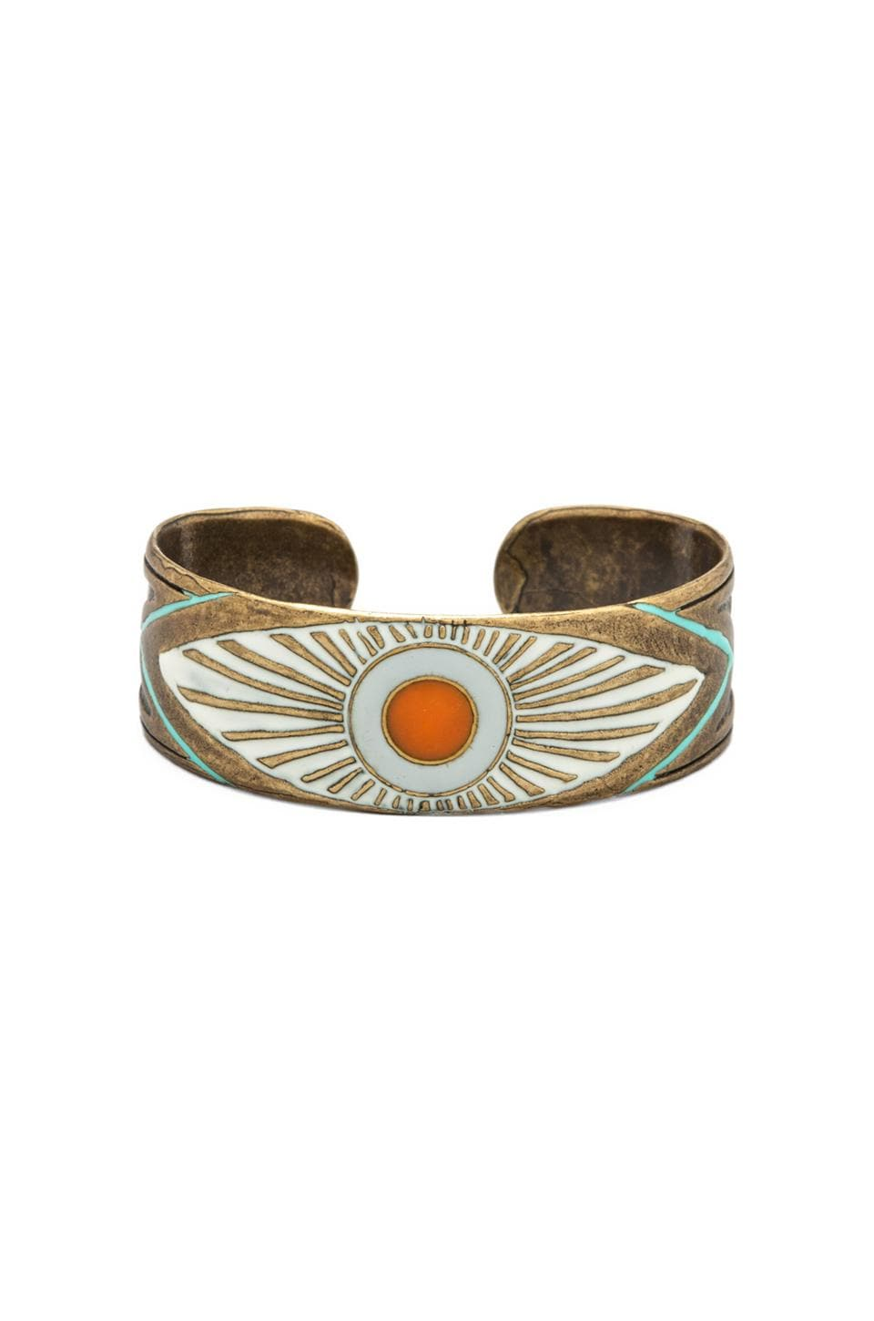Dream Collective EXCLUSIVE Evil Eye Cuff in Turquoise/Ivory/Orange