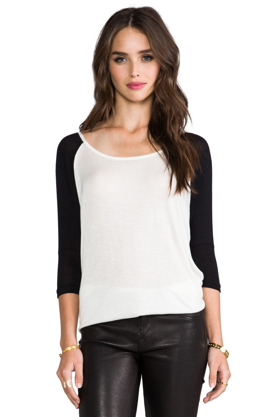 DAYDREAMER Raglan Dolman Tee in White & Black
