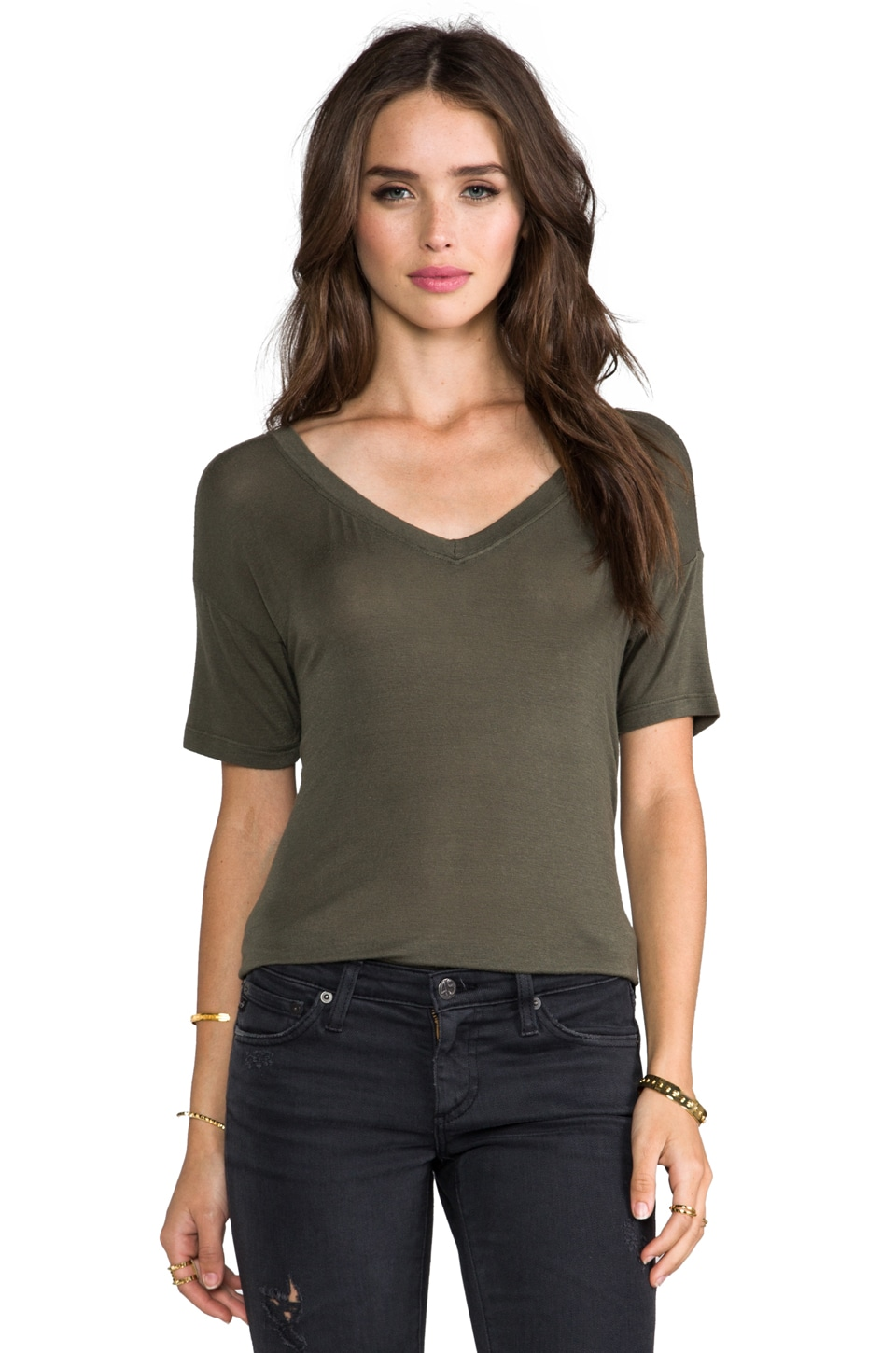 DAYDREAMER Trapeze V Neck Tee in Army